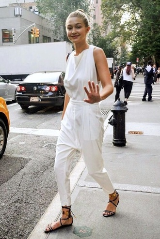 jumpsuit gigi hadid white jumpsuit pants monochrome all white everything white pants white tank top