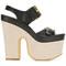 Stella mccartney slingback buckled platform sandals, women's, size: 38, black, polyamide/polyester/rubber/canvas