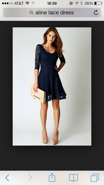 dress blue lace aline prom dress shorty