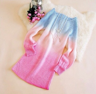 sweater ombre dip dyed tie dye pastel goth pastel sky blue pastel pink cut off shorts sweater dress knitted sweater knitwear cardigan kawaii
