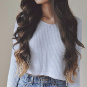 sweater,beautiful,pullover,grey,cotton,grey sweater,jeans,ombre,ombre hair,blue grey,cropped,jumper,crop,winter outfits,spring,knitwear,tumblr