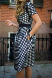 dress,pocket dress,midi dress,a line dress,polka dots,polka dots dress,belted dress,metallic,metallic dress,black watch,watch,short sleeve,short sleeve dress