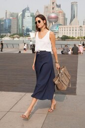 skirt,office outfits,midi skirt,blue skirt,bag,nude bag,top,tank top,white top,mules,sunglasses,black sunglasses
