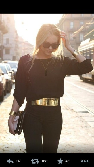 black blouse jumpers gold