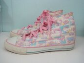 shoes,sneakers,pink,pastel,high top sneakers,hello kitty,pastel sneakers