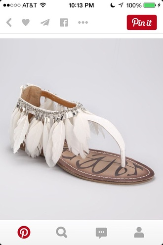shoes sandals feather sandals feather feathers flats flat sandals boho boho shoes white white sandals white shoes cute sandals white feathers sandals flats shoes white summer shoes beach wedding socks