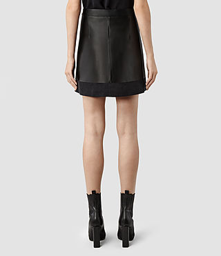 Womens Melina Leather Skirt (Black/Washed Black) | ALLSAINTS.com