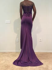 dress,purple,prom,drawstring,gems,jewels,handmade,stretchy,long,tight,slinky,gown,prom 2016,draped