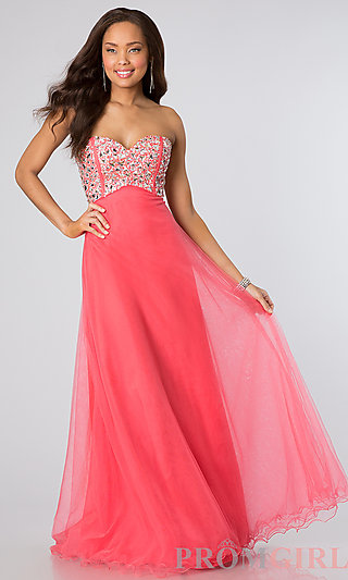 Strapless Beaded Long Prom Dress- PromGirl