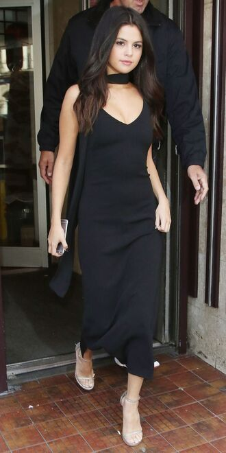 dress black dress choker dress black choker dress selena gomez metallic heels barely there heels jewels all black everything choker necklace