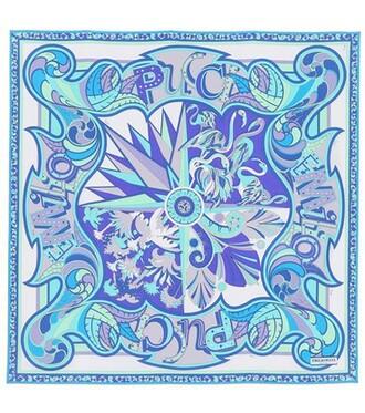 scarf silk scarf silk blue
