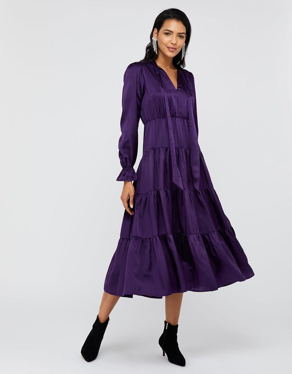 Violet Silk Tiered Midi Dress