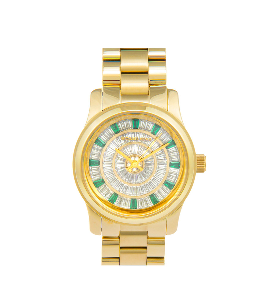 Michael Kors Woman's Runway Green Glitz Dial Gold Steel Watch | Emprada
