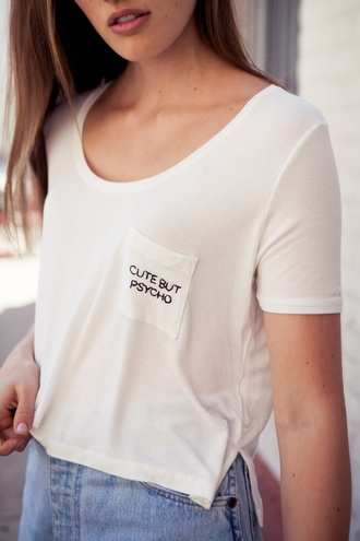 blouse brandy melville cute but pyscho t-shirt cotton white