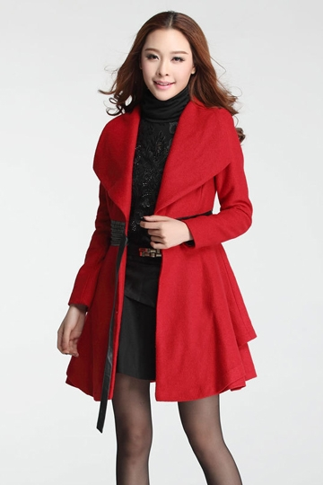 Double Hem Pure Color Wool Coat with Belt [FEBK0413]- US$62.04 - PersunMall.com