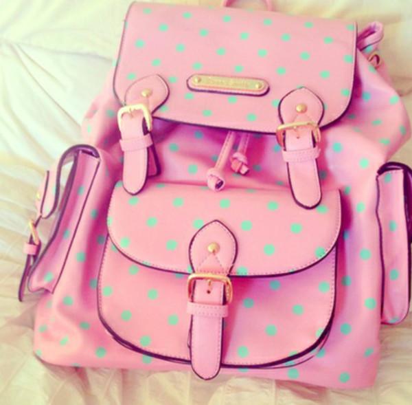 bag polka dots pink mint backpack romper