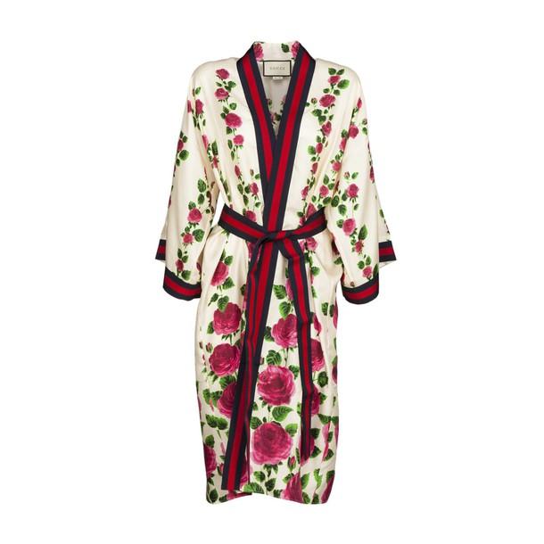 kimono rose print silk floral top