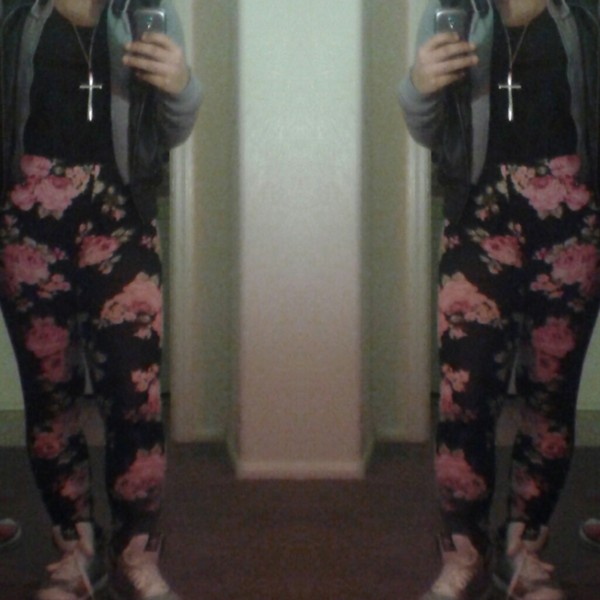 pants pink flowers high waisted leggings