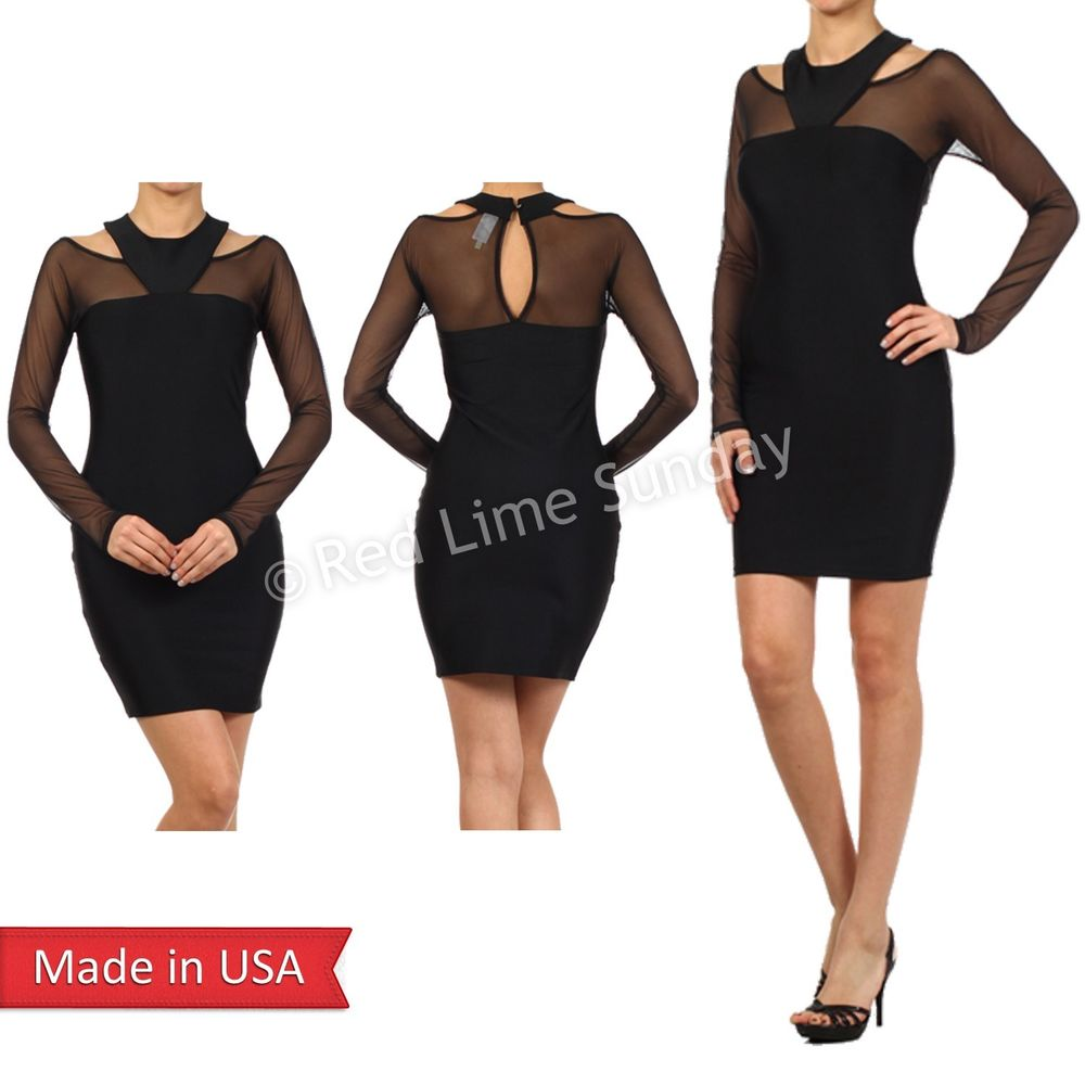 Women Sexy Black Mesh Panel Sleeved Round Neck Cut Out Mini Bodycon Dress USA