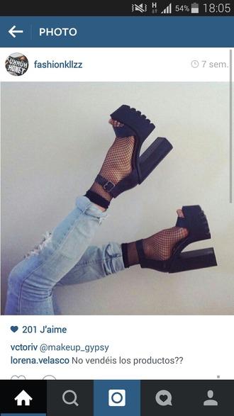 shoes black heels chunky heels platform sandal heels