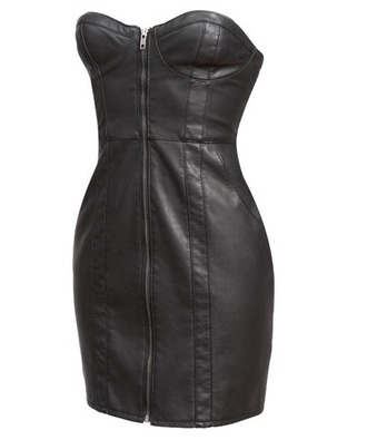 dress women sexy leather mini dress zipper dress sleeveless dress bustier dress