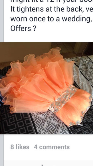 bright dress neon peach diamonte aboveknee