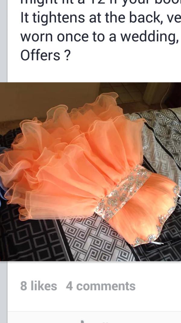 dress peach neon bright diamonte aboveknee
