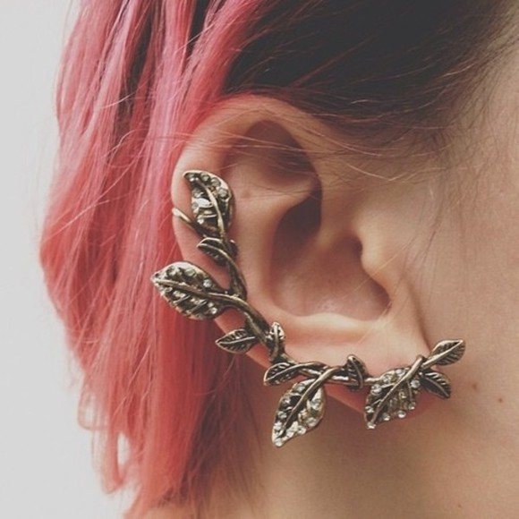 leaf jewels earrings cool interesting urban flower dope whole ear earring grunge soft grunge