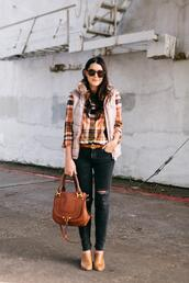 kendi everyday,blogger,shirt,jeans,top,plaid shirt,booties,vest