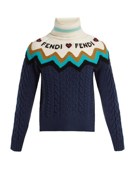 Fendi - Roll Neck Wool Blend Sweater - Womens - Blue