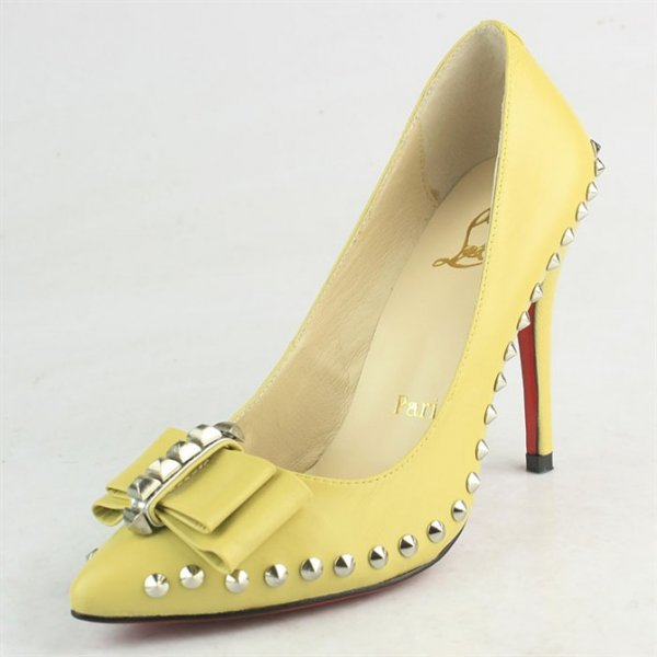 online store a8bee 594a9 Christian Louboutin Yellow Pumps With Bow-knot And Diamonds ...