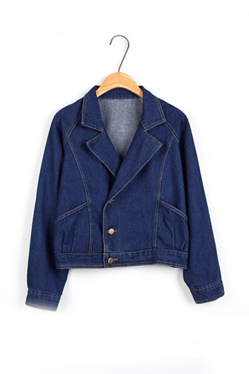 Short Pattern Pure Color Denim Coat [FEBK0293]- US$ 28.99 - PersunMall.com