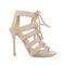 4 inch beige suede strappy sandals