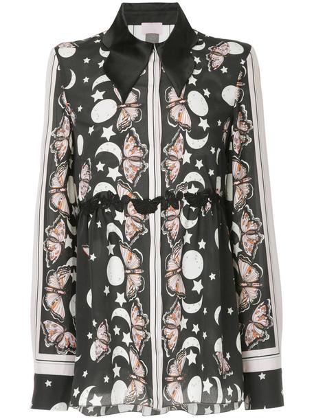 Giamba shirt long women butterfly black top