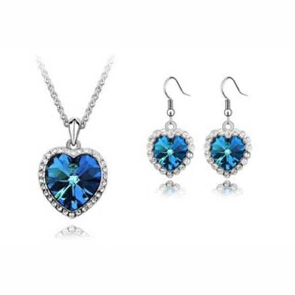 jewels silver jewelry earrings necklace swarovski ocean blue