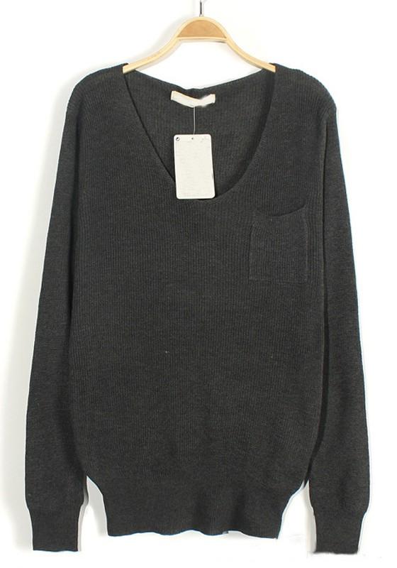 Dark Grey Plain Pockets V-neck Loose Knit Sweater