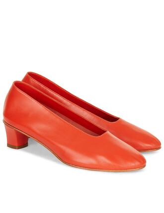heels glove heels leather coral orange shoes