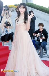dress,kim so hyun,kdrama,k-drama,red carpet dress,gown,blush pink