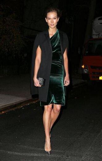 dress velvet dress velvet pumps fall dress karlie kloss coat christmas dress one shoulder green dress celebrity style celebrity cape