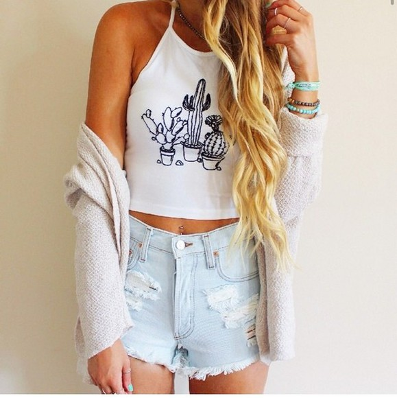 shorts denim shorts top cardigan crop tops cactus