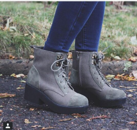 gray jeans shoe high heels creepers boots ankleboots ankle bluejeans studs fall outfits