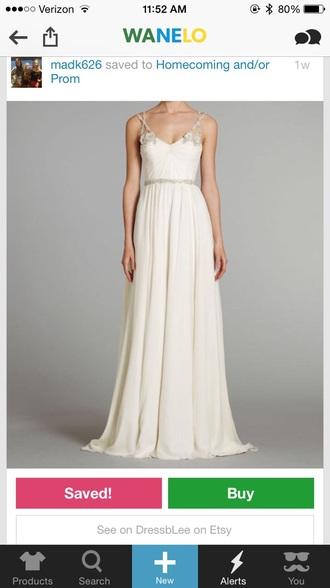 dress white prom dress prom beads gold