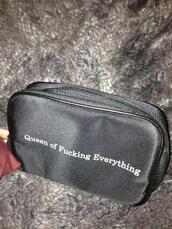 bag,queen,everything,black,pouch,white writting