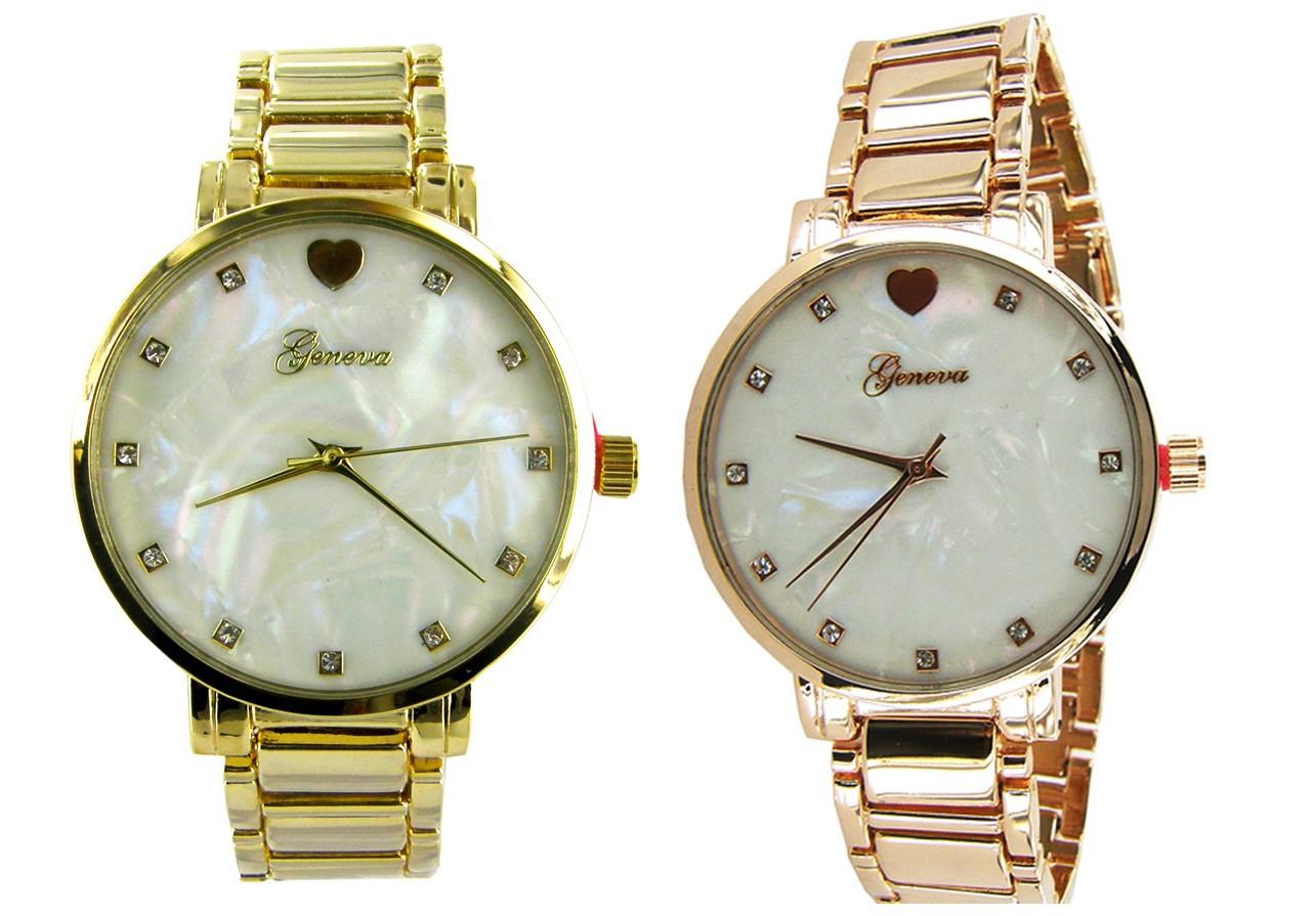 Geneva Heart Bright Crystal Metal Link Watch