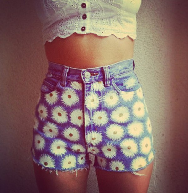 flowers daisy shorts wauw wow crop rop