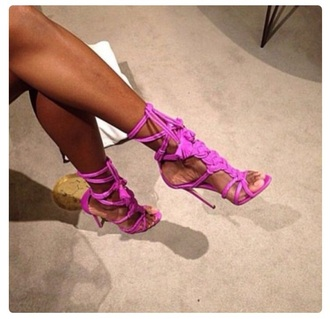 shoes pink purple strappy sandals style high heels