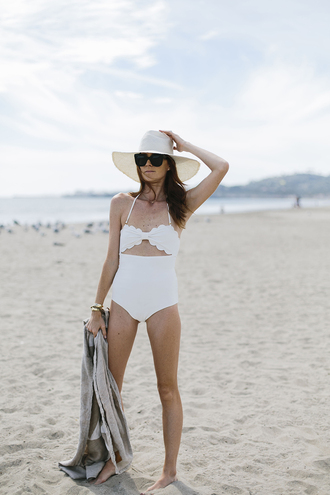 could i have that blogger swimwear hat sunglasses one piece swimsuit white swimwear
