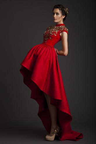dress red gold details christmas wedding high low dress