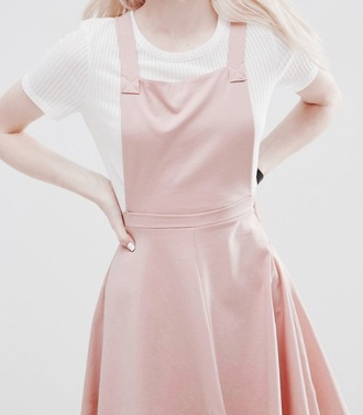 dress overall skirt pink pastel white shirt cute pretty