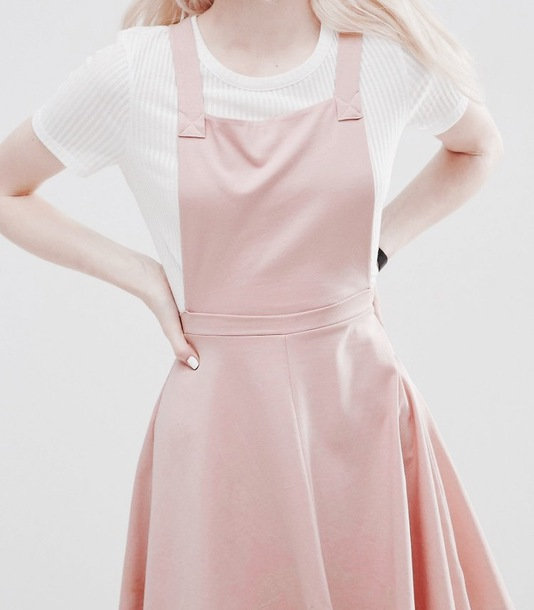 Dress: overall skirt, pink, pastel, white, shirt, cute, pretty ...